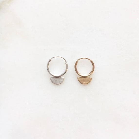 Scale earring | Hoop earring 10mm silver and 9mm gold | Price per piece or per pair | 14k gold filled & sterling silver