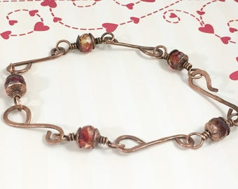 Hand Forged Copper Link Beaded Bracelet, Red Yellow Picasso Beaded Artisan Link Bracelet, Boho Rustic Antique Copper Jewelry