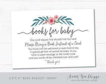"""Floral Wreath Baby Shower Book Request Cards: Baby Shower """"Bring a Book"""" Insert **Instant Download**"""