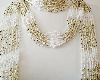 White Crochet Necklace Scarf / White Crochet Gold Beaded Necklace Scarf.