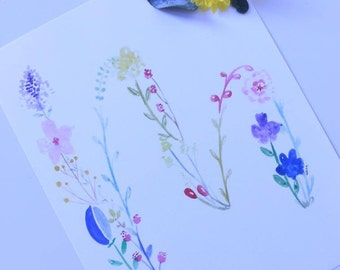 Floral letters    Hand painted print