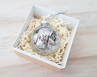 Personalized established NEWLYWED CHRISTMAS ORNAMENT gift with calligraphy - One (Silver)