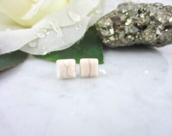 Howlite Earrings - White Howlite - Square Studs - Minimalist Earrings - Marble Jewelry - Stone Studs - Stud Earrings - Gemstone Earrings