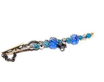 SALE  Roach Clip bracelet buddy, Jewelry helper, gift for her, gift ideas, best friends, Cigarette holder 420 mmj, blue silver glass