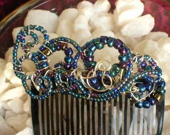 Mermaid Hair Accessory / Boho Gypsy Wedding Hair Comb / Fairy Goddess Hair Comb / Gemstone Hair Accessory / Mardi Gras Beaded Hair Comb