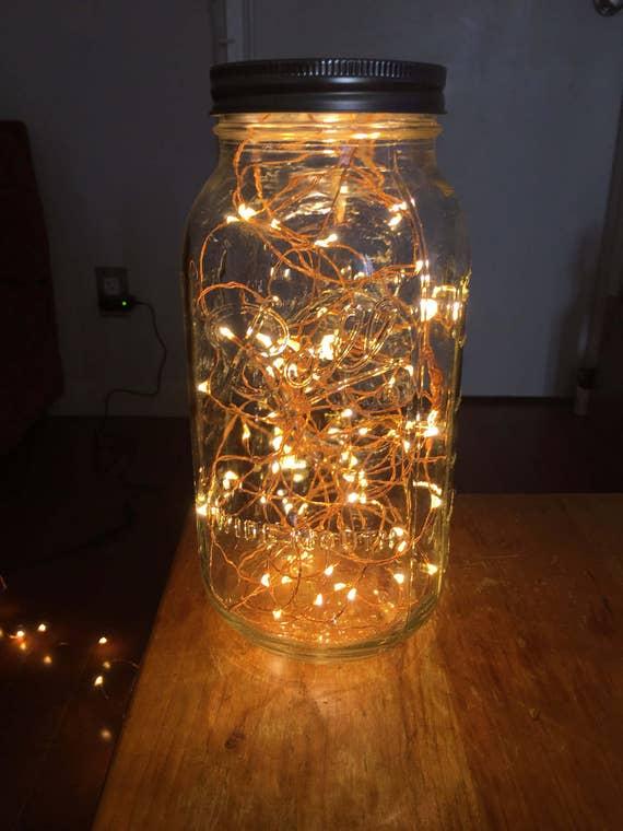 Plug in copper wire fairy light mason jar by