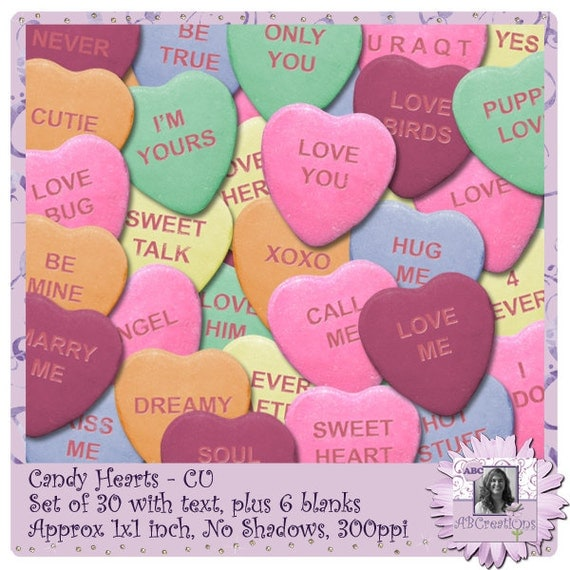 Candy Hearts, Valentines Day, Anniversary, Wedding, candy heart stickers, candy heart clipart, Digital Scrapbooking, digiscrap, paper crafts