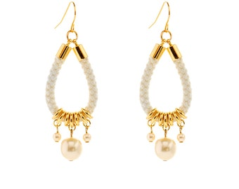 Dangle Pearl Earrings, Pearl Earrings, Dangle Earrings, Dangling Pearl Earrings, Rope Earrings, Rope Jewelry, Chandelier Earrings