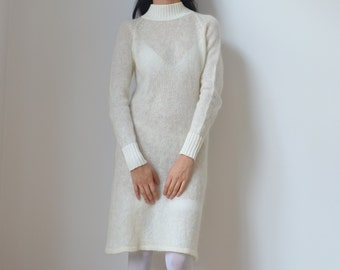 WHITE LONG JUMPER -maxi, dress, ivory, long sleeve, warm, soft, winter, aesthetic, cute, boho chic, hippie, longline, oversized, pullover-