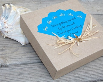 Starfish decorated gift box, bridesmaid proposal card, maid of honor, beach wedding party gift, married by the sea, be my bridesmaid