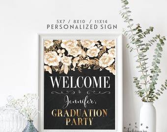 Graduation Welcome Sign Grad Party Decoration Decor Printable Black Cream Gold Floral (Instant Download) No.1082GRAD