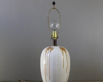 Mid century white ceramic drip glaze lamp