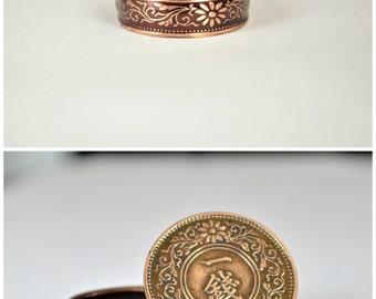 Japanese Jewelry, Burgundy Ring, Japanese Ring, Coin Ring, Bronze Ring, Japanese Coin, Japanese Coin Ring, Coin Ring, Japanese Art, Coin Art