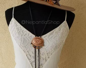 Concho Bolo Tie Necklace, Southwestern Citrine Red Jasper Healing Gemstones Country Music Cowgirl Honky Tonk, Feathers Bohemian Boho Gypsy