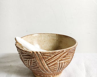 Sand Carved Ceramic Bowl