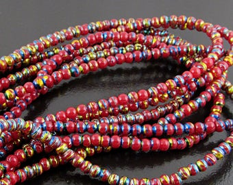 """Opaque Red Seed Beads, 4mm Round Spacers, 16"""" Strand S222R"""