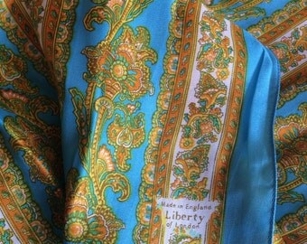 Vintage-' Liberty of London '-Liberty-Silk scarf-Neck tie-Blue-Cream-Gold-Floral-Gifts for her
