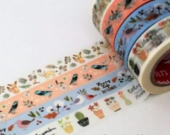 Washi Tape Set - 4 Rolls - BlueBird - Fox - Little Flower Pot - Succulent - Bird - Woodland - Pastel - 15mm by 10 metres - Kawaii Stationery