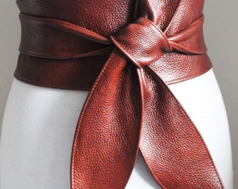 Rich Brown Leather Obi Belt tulip tie| Waist or Hip Belt | Real Leather Belt| Handmade Belt | Wrap Belt | Plus Size Belt