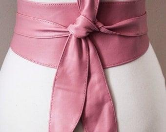 Pink Leather Tulip Tie Obi Belt | Waist or Hip Belt | Leather corset tie belt | petite to Plus Size