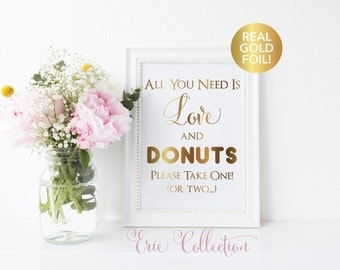 Wedding Donut Favor Sign, Wedding Favor Sign, Donut Bar Sign, All You Need is Love, Wedding Reception, Party Favor Sign, Favor Sign
