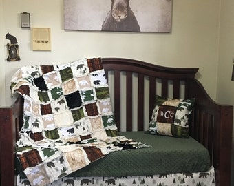 WILD YUKON Nursery Collection - Bear Crib Bedding, Black Bear Baby Bedding, Camping Baby Bedding, Rustic Nursery, Bear Baby Quilt, Woodland