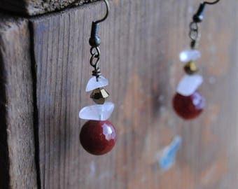 Rose Quartz, Garnet & Swarovski Drop Earrings