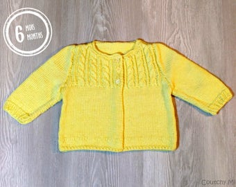 Baby knit sweater baby knit cardigan baby knit girl baby gift baby shower newborn gift yellow baby sweater knitted baby clothes baby girl