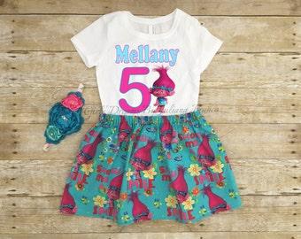 Trolls Birthday Outfit, Trolls Tutu, Personalized Trolls Outfit, Trolls Dress, Trolls Shirt, Poppy Birthday Shirt, Trolls Movie Shirt, Poppy