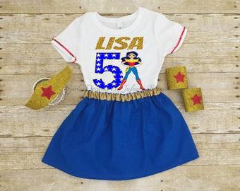 Wonder Woman Shirt, Wonder Woman Birthday Shirt, Wonder Woman Outfit, Wonder Woman Personalized Shirt, Wonder Woman Tutu, Super Girl Shirt