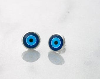 Evil Eye Earrings, Minimalist Earrings, Good Luck Charm, Blue Earrings, Evil Eye Jewelry, Round Evil Eye, Blue Evil Eye, Stud Earrings