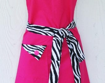 PLUS SIZE Apron, Pink Zebra Print Apron, Pink and Black Apron, Animal Print, Womens Full Apron, Retro Apron, KitschNStyle