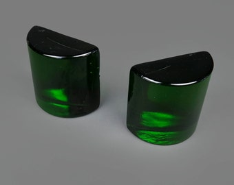 Mid Century Green Glass Bookends Decorative Transparent Mid Century Book Ends Library Decor