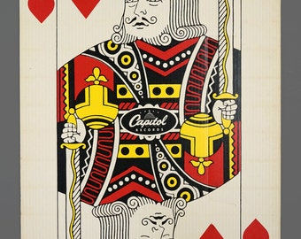 1963 19 x 27 King Of Hearts Giant Playing Card Capitol Records