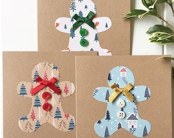 Handmade Christmas Cards - Gingerbread Man Christmas Cards - Set of 3 - Xmas Card Pack - Holiday Cards - Christmas Card Pack -Seasonal Cards