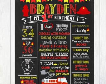 Firetruck First Birthday Chalkboard, Firefighter Chalkboard Sign, Boy 1st birthday, Fire truck Birthday Chalkboard Sign, DIGITAL FILE