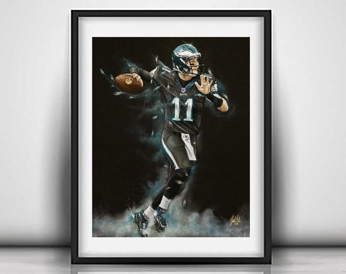 Carson Wentz - Art Print - Philadelphia Eagles - Wall Art- Man Cave Art - Eagles Decor - dorm decor - Eagles Gifts - Gift Idea - 16x20