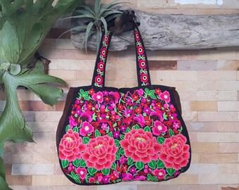 Unique Embroidered Tote Bag/Karen Shoulder Bag/Hmong Bag/Handmade Karen Tote Bag/Ethnic Tribal Bag/ Sac Karen Bag/Handmade Tote Handbag