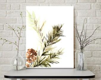 Green Branch - Minimalist Art Print, Watercolor Painting Print, Pine Tree Branch, Wall Art, watercolor print