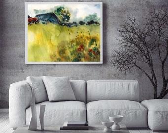 Green summer Landscape Print, watercolor painting art print, wall art, nature painting art