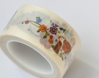 Flowers Washi Tape / Decorative Tape / Japanese Masking Tape 20mm wide x 5m long (0.8 inch wide x 5.5 yards long) No. 12012