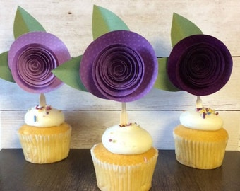 Paper Rose Cupcake Topper, Purple Ombre, Set of 12