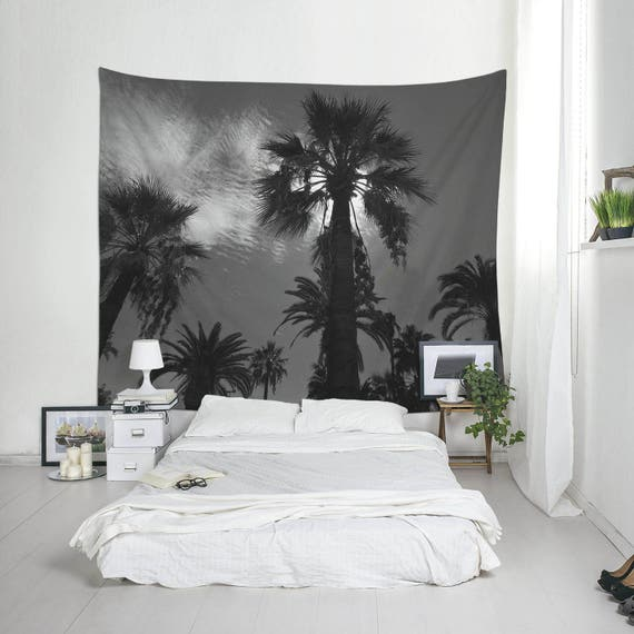 Black And White Large Tapestry, Palm Trees, Tropical Decoration, Home Decorating, Black Tapestry, Photo Wall Art