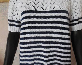 Nice SWEATER sailor short sleeves knitted hand - in cotton - nice point openwork yoke and sleeves