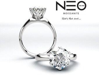 2.00 Carat (8mm) Round Moissanite Modern Style Solitaire Ring (NEO Moissanite)