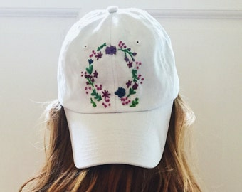 Custom Floral Embroidered Baseball Cap