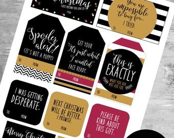 """Christmas Gifts Printable """"Honest"""" Tags"""