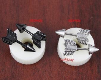Arrow stud earrings; black arrow earrings, black studs, black stud earrings, men earrings, guy earrings, ear studs for men, men stud, SE3442