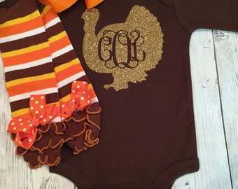 Babys First Thanksgiving Outfit, 1st Thanksgiving Outfit, Girls First Thanksgiving Outfit Set, Baby Girl Thanksgiving Outfit, Turkey Outfit