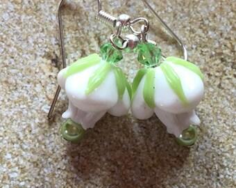 White Flower Lampwork Earrings, Earrings, Lampwork Floral Earrings, Glass Earrings, Statement Earrings